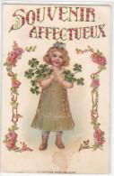 22194 Souvenir Affectueux KF Paris Serie 1030 - Doré Treffle Enfant -carte En Relief- Rose Or - Bébés