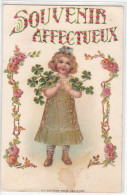 22194 Souvenir Affectueux KF Paris Serie 1030 - Doré Treffle Enfant -carte En Relief- Rose Or