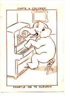 """Carte à Colorier. Kaartje Om Te Kleuren. Eléphant Au Piano """"La Belgica"""" Teinture Ménagère. - Phantasie"""