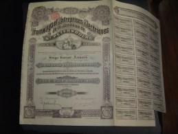 """Action De Capital """" Tramways Et Entreprises Electriques De St Petersbourg """"1912 Bon état,reste Des Coupons - Chemin De Fer & Tramway"""