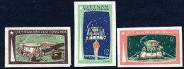 NORTH VIETNAM 1971 LUNA 17 Moon Flight Imperforate Set Of 3 MNH / (*).  Sc. 641-43 - Vietnam