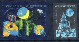 NORTH VIETNAM 1971 LUNA 16 Moon Flight Imperforate Set Of 3 MNH / (*).  Sc. 639-40 - Vietnam