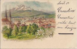 8924 - Luzern & Pilatus Edelweiss Litho - LU Lucerne