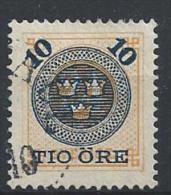 Suède 1885 , N°40 Oblitéré Timbre Surchargé - Gebraucht