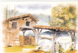 22231 Landes , Aquarelles Anne Larose -ferme Landaise -Thouand Jacques Vignes 423015 - France