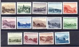 Liechtenstein 1944-45, Série Paysages, 199 / 212**, Cote 55 €, - Holidays & Tourism