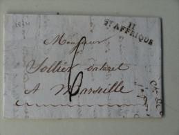 St Affrique Aveyron Marque Postale 11 Taxe 6  1824 - Marcophilie (Lettres)