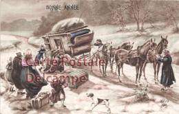 LOT SERIE DE 2 CPA : Bonne Année / Calèche Attelage Accident / ZED 332 - Cartes Postales