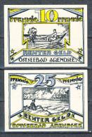 Deutsches Notgeld Arendsee Reutergeld Badeverwaltung 10 Und 25 Pfennig Gültig Bis 31.Mai 1922 Erhaltung I - Lokale Ausgaben