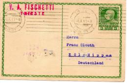 Nr. 524,  Ganzsache Österreich 1911, Triest Nach Köln-Nippes - Entiers Postaux
