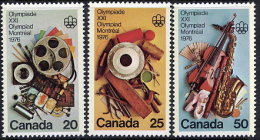 CANADA 1976 Olympic Games, Montreal X Set Of 3  MNH / **.  SG 833-35 - 1952-.... Reign Of Elizabeth II