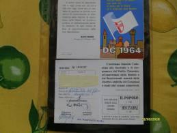 POLITICA Partiti Politici 1964 Tessera DEMOCRAZIA CRISTIANA D.C.Frase Aldo Moro - Documents Historiques