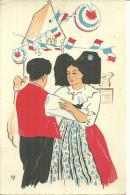 68 67 Alsace Lot De 2 CPA Illustrateur Alsacien Alsacienne Dance Et Cigognes Ed AGASO - Sin Clasificación