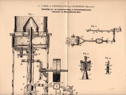 Original Patentschrift - G.J. Baer In Vierverlaten / Hoogkerk , 1898 , Apparat Für Rübenschnitzelmaschine , Zuckerfabrik - Historische Dokumente