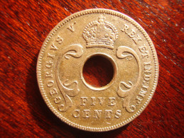 BRITISH EAST AFRICA USED FIVE CENT COIN BRONZE Of 1925 - GEORGE V. - British Colony