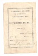 @ DISTRIBUTION DES PRIX 1869 SEDAN FAUBOURG DU MESNIL 08 ARDENNES ETABLISSEMENT DES SOEURS DE SAINTE CHRETIENNE - Diplômes & Bulletins Scolaires