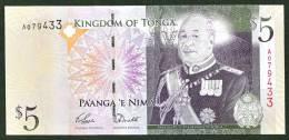 TONGA:  5 Pa´anga -  P39 - 2009 -UNC - Tonga