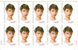 United States 2003 Sheet/10 Audrey Hepburn, Movie Star #3786 - Unused Stamps