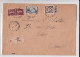 """1936 - ENVELOPPE GRAND FORMAT RECOMMANDEE De PARIS """"F"""" Pour REIMS (MARNE) - 1921-1960: Période Moderne"""