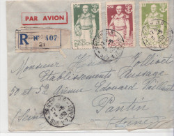 Indochine Lettre De Saigon Pour Pantin Par Avion En Recommandé Avec Bel Affranchissement - Indocina (1889-1945)