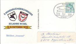 """PP 100/80 3. Minensuchgeschwader - 20 Jahre Kiel 6.-8.Oktober 1978 """"BM-Boot """"Amazone"""" - Privatpostkarten - Gebraucht"""