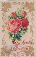 ¤¤  -  BRIOUX   -  Un Baiser De ...  -  Carte En Célluloïd  -  Découpi , Fleurs , Rose   -  ¤¤ - Brioux Sur Boutonne