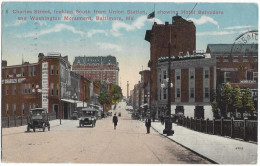 Charles Street Looking South From Union Station Showing Hotel Belvedere And Washington Monument Baltimore  /15564 - Baltimore