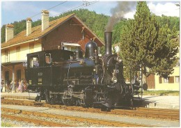 """TRAIN Suisse - EISENBAHN Schweiz -  L´ABBAYE - Le Pont (gare) Vallée De Joux, Locomotive Vapeur 8523 Type E 3/3 """"TIGERLI - Gares - Avec Trains"""