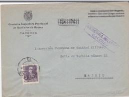 1939 - ENVELOPPE De SERVICE Avec CENSURE RARE De CACERES Pour MADRID - Marcas De Censura Nacional