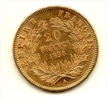 20 FRANCS OR  Napoleon III  De 1858 A - Or