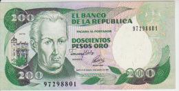 Colombia 200 Peso 1992 Pick 429A UNC - Colombia
