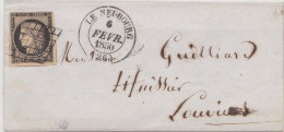 Eure Le Neubourg Type 14 Sur 20c Noir CàD Du 6 Fevrier 1850 Arrivée Le 7 - 1849-1876: Periodo Classico