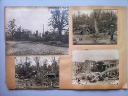 Guerre 1914-1918 : 4 Clichés De Batterie D'artillerie En Aout 1918 Et 4 Vues D'une Tranchée Et Des Villes Ou Villages En - 1914-18