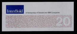 "Test Note ""INTERBOLD"" Testnote,  20 Dollars, RRR, UNC, Dollar Size - USA"