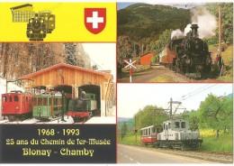 TRAIN Suisse - EISENBAHN Schweiz - BLONAY-CHAMBY - 3 Vues - 5 Locomotives  - Photo O. Geerinck Et Jean-Daniel Paré - Trains