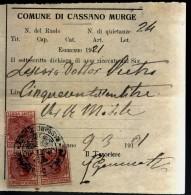 CASSANO  MURGE   BARI    VECCHIA BOLLETTA  1921 - Historical Documents