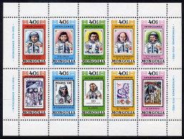 MONGOLIA 1980 Intercosmos Space Programme Set Of 10 In Sheetlet MNH / **.  SG 1297-1306 - Mongolia