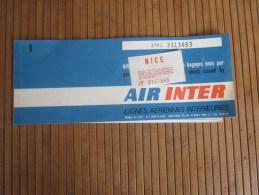 Titre De Transport Billet D'embarquement Par Avion Air Inter + Bulletin Complémentaire  Bagages 5/12/1970 Paris Nice - Europe