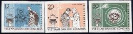NORTH VIETNAM 1962 Visit Of Astronaut Titov Imperforate Set Of 3  MNH / (*).  Sc. 211-13 - Vietnam