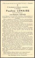 Pauline Lemaire - Martué 1867 - Florenville  1941 - Vve. Jean-Baptiste Gérard - Décès