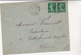 ALGERIE -LETTRE AFFRANCHIE PAIRE N° 137 SEMEUSE -OBLITERATION -AIN-EL-ARSA - ORAN -1915 - Algérie (1924-1962)