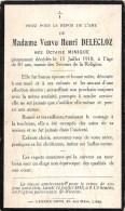 Octavie Minique - 1918, à L´âge De 81 Ans - Vve. De Henri Delecloz Liège - Overlijden