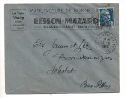 Cachet  ST.LAURENT - D'AGNY Rhône 17.8.1948 - Manufacture De Bonneterie BESSON -MAZARD - Postmark Collection (Covers)