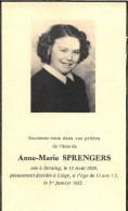 Anna-Marie Sprengers - Seraing 1939 - Liège 1953, à L'âge De 13 Ans 1/2 - Décès