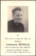 Lambertine Richelle - Angleur 1963, à L'âge De 94 Ans - Vve. De Léon Debaty - Décès