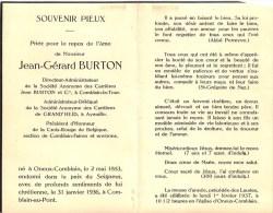 Jean-Gérard Burton - Osneux-Comblain 1883- 1936 - Président Croix-Rouge - Adm. S.A Des Carrières - Décès