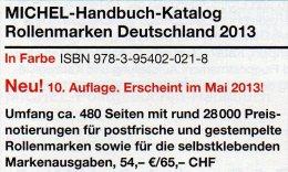 Handbuch Rollenmarken Deutschland 2013 Neu 54€ Michel Katalog Rollenmarke Special Catalogue Of Germany 978-3-95402-021-8 - Documentos Antiguos