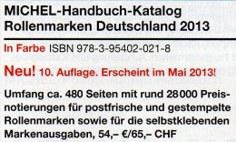 Handbuch Rollenmarken Deutschland 2013 Neu 54€ Michel Katalog Rollenmarke Special Catalogue Of Germany 978-3-95402-021-8 - Colecciones