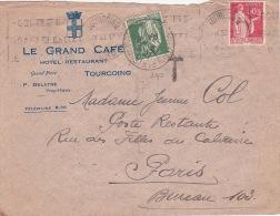 1933 N° 280 PAIX 30c Utilisé Comme TAXE DE POSTE RESTANTE Sur Lettre Affr. N°283 Obl TOURCOING NORD / Le Grand Café - 1932-39 Peace