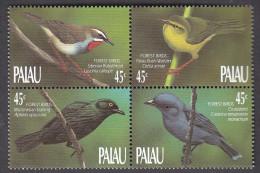 PALAU, 1990 FOREST BIRDS BLOCK 4 MNH - Palau